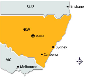 Dubbo on map of NSW