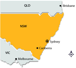 Sydney on map of NSW