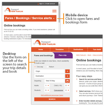 Ways to access bookings on mobile and desktop