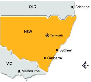 Tamworth on map of NSW