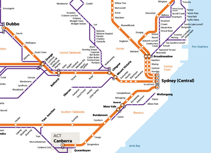Regional train and coach network map.