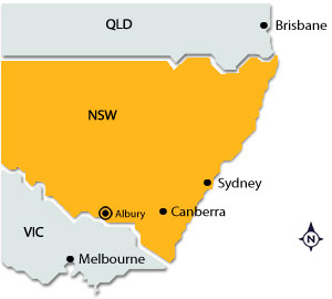 Albury on map of NSW