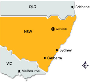 Armidale on map of NSW
