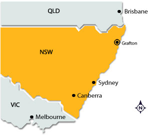 Grafton on map of NSW