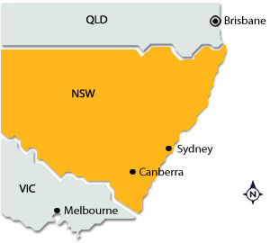 Brisbane on map of NSW
