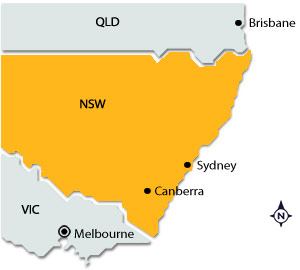 Melbourne on map of NSW