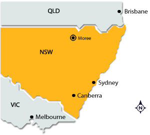 Moree on map of NSW