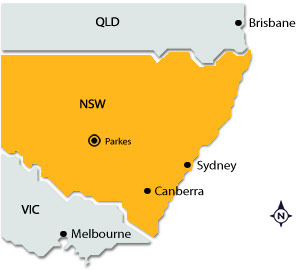 Parkes on map of NSW