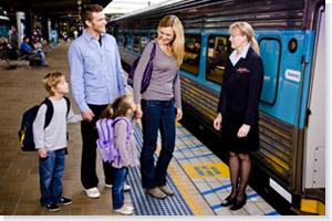 A family boarding the train