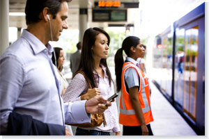 Customers at a Sydney Trains station