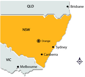 Orange on map of NSW