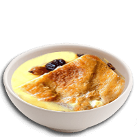 Bread and butter pudding with custard